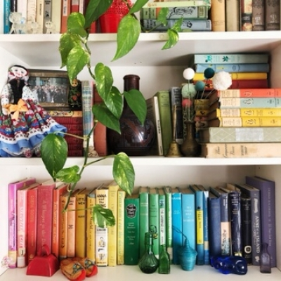 billy bookcase filled with vintage books